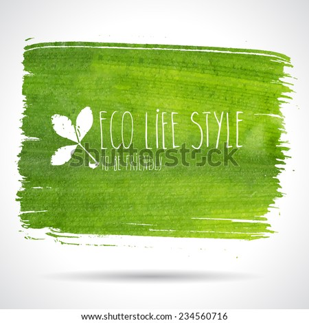green hand drawn banner   eco