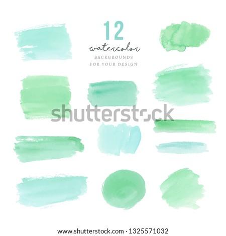 Green hand drawn splotches for design
