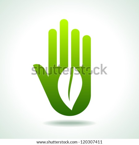 Green hand with green leaf over white background. vector