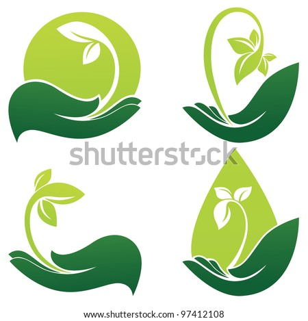 green hands  vector collection
