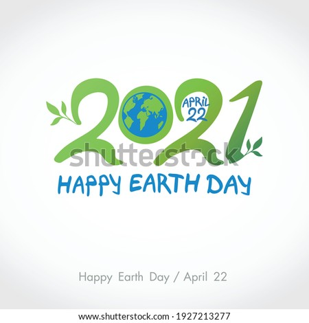Green handwritten logo Blue planet Earth. 2021. Happy Earth Day. April 22. Vector hand drawn template.