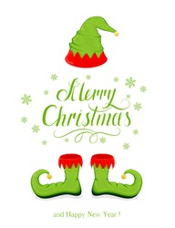 Green hat and shoes elf isolated on white background, holiday costume and lettering Merry Christmas and Happy New Year, illustration.