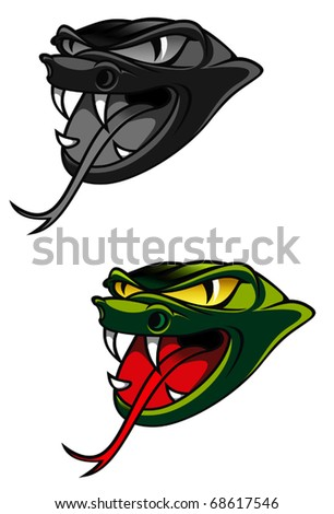 Green head of danger snake as a warning concept - also as emblem. Jpeg version also available in gallery