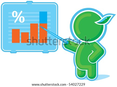 Green Hero pointing at Chart Graph
