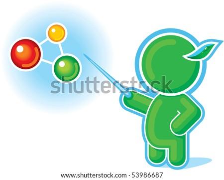Green Hero pointing at Molecule, Chemical Formula
