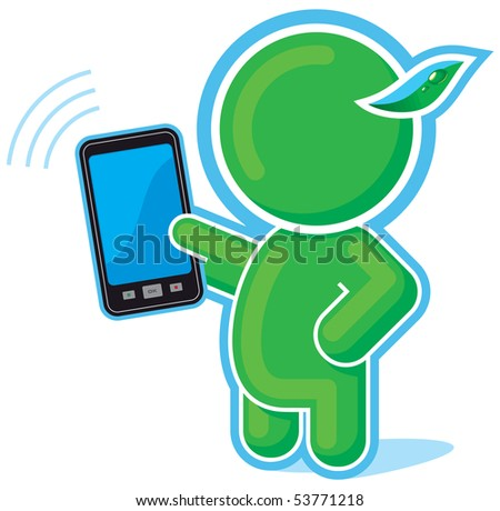 Green Hero with Cell Phone, Mobile, Communicator