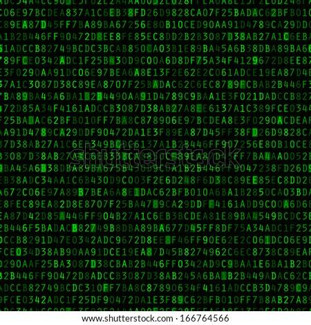 green hexadecimal computer code