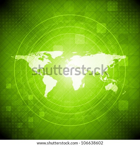 Green hi-tech background with world map. Vector illustration eps 10 - stock vector