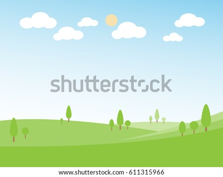 Green hill landscape, landscape with hill tree cloud and sun on blue sky background, panorama view