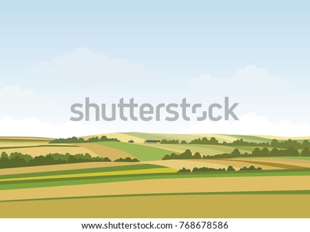 Green hill landscape. Vector illustration of panorama field landscape and cloud sky.