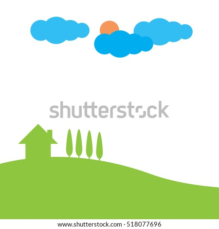 green hill landscape with house