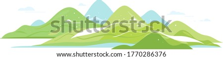 Green hills and mountains in simple geometric forms view from afar isolated composition, nature tourism place in view from afar, travel adventure panorama of the mountain range Stock photo ©