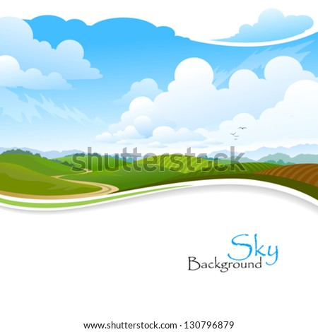 Green Hills , Blue Sky and Lonely Pathway
