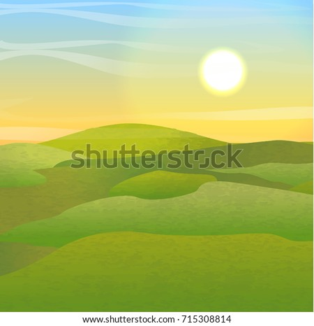 green hills covered with grass