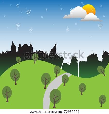 Green hills near a city. Green city concept