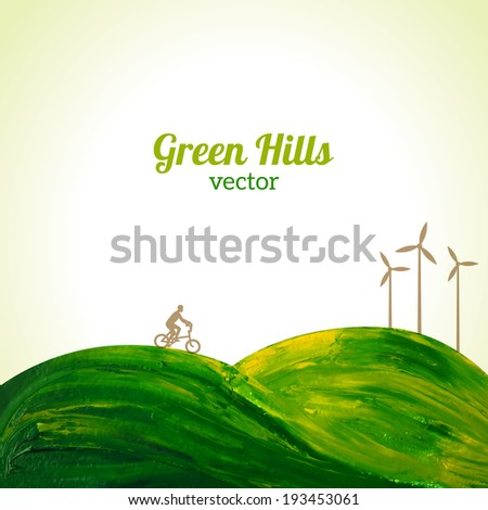 green hills painted in oil