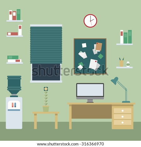 green home office with