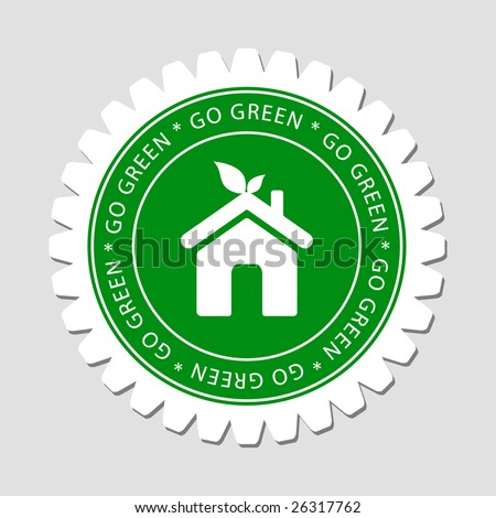 Green Home Sign Label