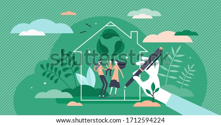 Green home vector illustration. Ecological house flat tiny persons concept. Build property with sustainable, nature friendly construction materials. Zero waste eco approach in buildings to save planet
