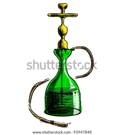 Green hookah isolated on white background sketch vector illustration