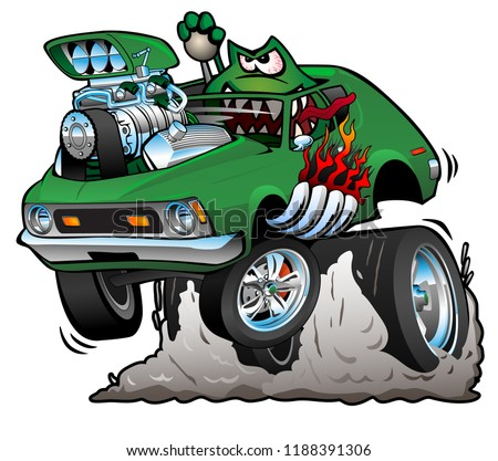 green hot rod funny car cartoon