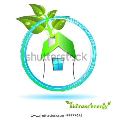 green house for biomass energy heating - stock vector