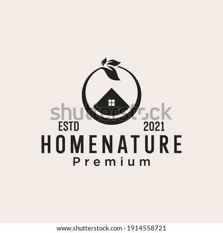 green house leaf house logo design Inspiration ストックフォト ©