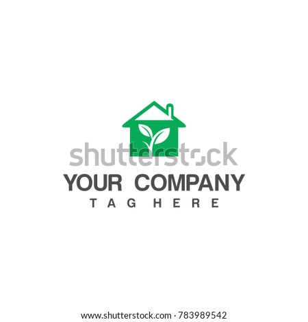 Stock Photo Green house logo. For web design and application interface, also useful for infographics. Vector illustration.