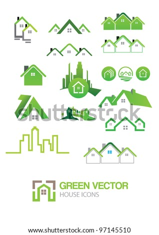 Green house vector Icons