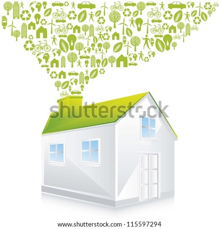 green house with icons over white background. vector illustration