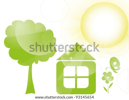 Green house with treem flower and butterfly