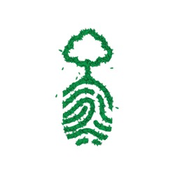 Green human fingerprint with tree concept made of realistic nature leaves for environment conservation.