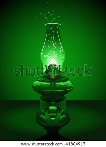 green hurricane lantern with