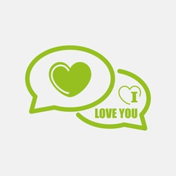 Green icon of I love you Comments on Light Gray background. Eps-10.