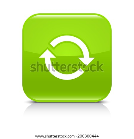 Green icon with white arrow repeat, reload, refresh, rotation sign. Set 02. Rounded square button with gray reflection, black shadow on white background. Vector illustration web design in 8 eps