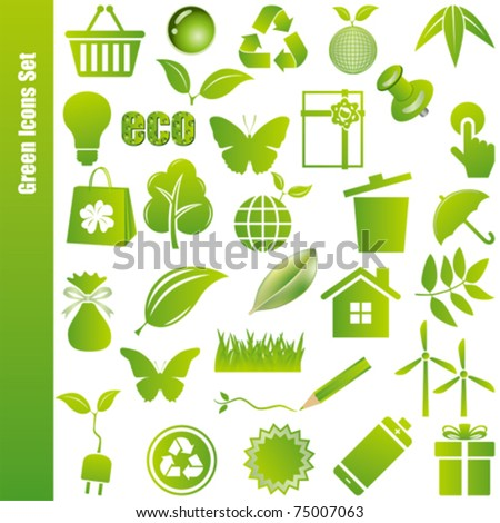 Green icons set. Illustration vector.