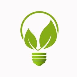 green idea bulb leaf nature energy icon logo design