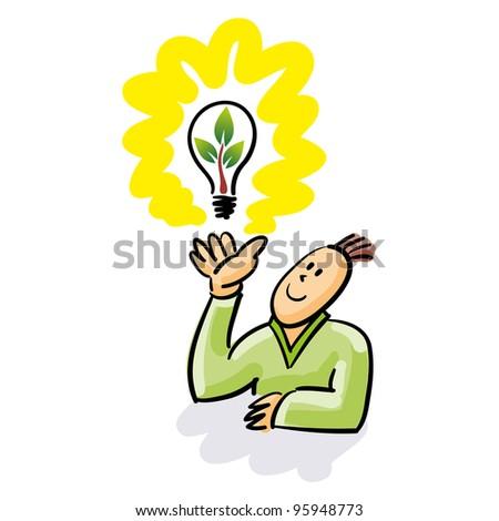 Green idea suddenly appear. Man with an Idea over his hand