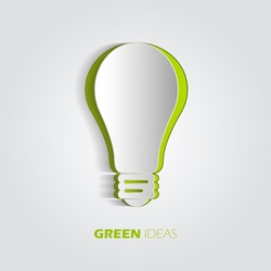 Green ideas innovation, 3D eco bulb energy icon, vector design