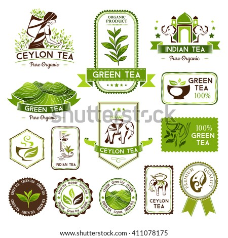 Green, indian and ceylon tea labels, badges and banners. Decorative elements for package design