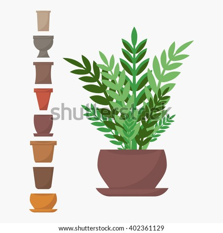 Green indoor flat style house plant in pot vector icon. Set of pots icons.
