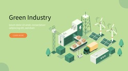 Green Industrial Factory with Renewable Energy. Wind Electricity Generators and Solar Panels. Eco Power Station. Eco Industrial Development Concept. Flat Isometric Vector Illustration.