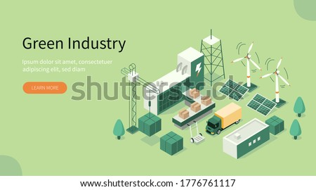 Green Industrial Factory with Renewable Energy. Wind Electricity Generators and Solar Panels. Eco Power Station. Eco Industrial Development Concept. Flat Isometric Vector Illustration. stock photo