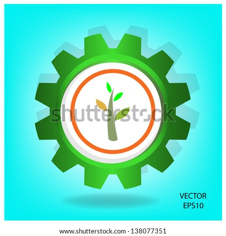 green industrial symbol,green thinking,vector