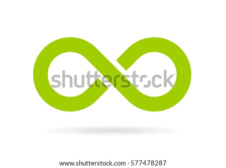 Green infinity vector symbol illustration on white background. Infinit loop vector web sign.