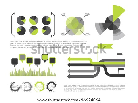 Green Info Graphic - stock vector
