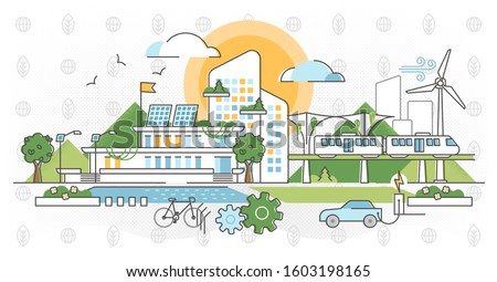 Green infrastructure vector illustration. Ecological city in outline concept. Factory and transportation responsible and sustainable resource consumption. Electricity power and renewable energy scene.