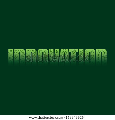 green innovation logo. innovation and innovation symbols. symbols on the word innovation