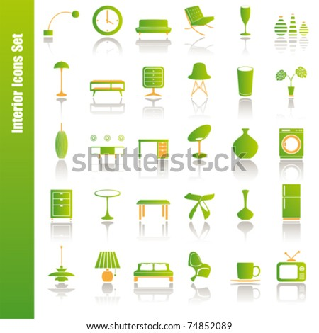 Green interior icons set. Illustration vector.