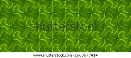 Green interlocking fractal tessellations geometric seamless pattern vector design. Fractal optical illusion abstract background with tiles. Interlocking geometric curve lines texture seamless.